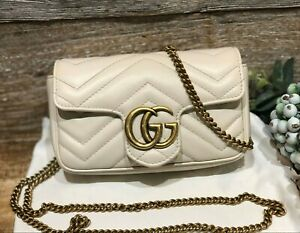 AUTH GUCCI GG MARMONT MATELASSE CHEVRON LEATHER SUPER MINI WHITE BAG GOLD HW