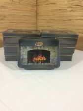 7 Cracker Barrel Fireplace Tins Cookie Containers Arts Crafts Beads Storage