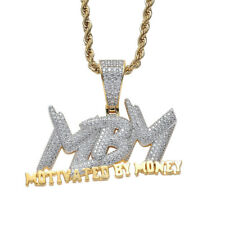 MBM Letters Hip Hop Pendant Necklace for Men and Women Clear AAA+ CZ Cos Jewelry