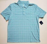 George Mens Lt Blue Windowpane Jersey Polo S/S Work Golf Button Shirt XL NWT