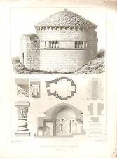 Impression architectural français 1851 ~ Chapelle Sepulchral Chambon plan intérieur