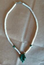 VINTAGE WHITE SHELL / CORRAL NECKLACE w/ GREEN GEMSTONES