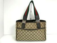 Authentic Gucci Tote Bag Sherry Line GG Tote Bag Canvas 56912206