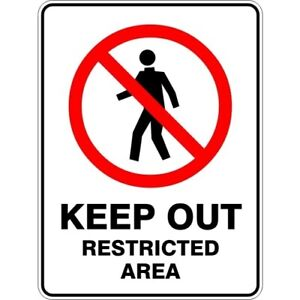 KEEP OUT RESTRICTED AREA - SELF ADHESIVE STICKER / DECAL / SIGN | HEALTH & SAFET