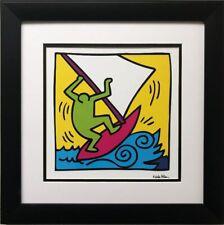 "Keith Haring ""KH12"" CUSTOM FRAMED Pop Art Plate Signed Windsurf Windsurfing Surf"