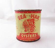 Vintage Sea Hak Brand Indian Head Dress Rappahannock 1 pint Oyster Tin