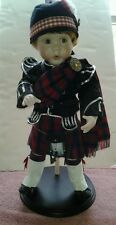 "Danbury Mint Ian (Scottish Bagpiper) 17"" Porcelain Boy Doll with Stand"