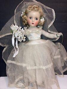 """Vintage Madame Alexander Bride Doll - Blonde hair Blue Eyes 14"""" Very Old"""