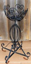 """Scrolled Heart Shaped Wrought Iron Bowl Footed Ivy Plant Stand 26 1/4""""T 6 1/2""""T"""
