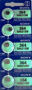 MURATA / SONY 364 SR621SW (5 piece) SR621 364 SILVER OXIDE Battery US seller