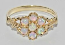 9ct Yellow Gold Opal Cabochon Antique Style Cluster Ring size N