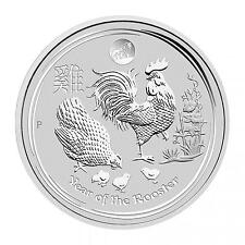 2017 Perth Mint Lunar Series Rooster 1 oz Silver Coin -Lion Privy from mint roll