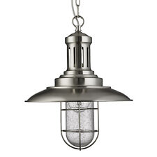 Fisherman Satin Silver Ceiling Light Pendant Fitting Caged Shade Home Lights New