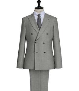 Men Grey Double Breasted Suit Designer Wedding Casual Dinner Suit (Coat+Pant)