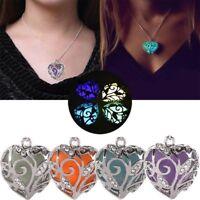 Fashion Magical Fairy Glow In The Dark Pendant Locket Heart  Luminous Necklace