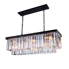 """L40"""" x W10"""" x H10"""" Clear Crystal Rectangle Island Dining Room Chandelier"""