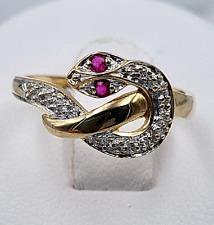 """Rubin-Ring """"Schlangen-Form"""" - 2 Rubine + 3 kleine Brillanten -585er Bicolor-Gold"""