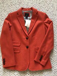 New J Crew Orange Hacking Blazer Jacket Size 8 100% Wool Herringbone Two Button