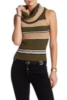 Free People Womens Carly Cowl Neck Striped Sleeveless Knit Top Green/Beige XS