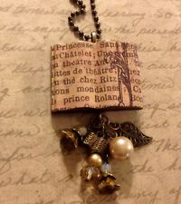 Reading Writing Vintage Style Book Necklace HANDMADE Librarian Teacher Gift