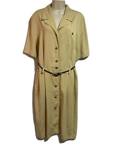 GERRY WEBER Retro 1990s Vtg Shirt Dress Summer Cargo Safari Mustard Beige UK 16