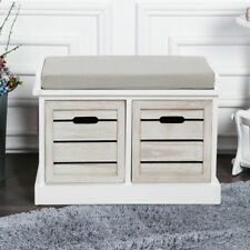 2 Drawer Crate Bench With Seat Pad Bedroom Hallway Seating Storage