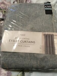 Next Teal Weave Fully Lined Eyelet Curtains 53 x 54 Inches New