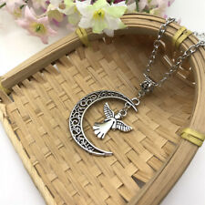 Angel and Moon Necklace Crescent Moon, Filigree, Guardian Angel ,Pagan, Wiccan