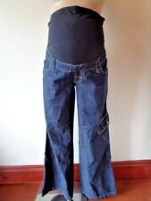 MAMAS & PAPAS MATERNITY BLUE OVER BUMP ROLL UP CARGO SLOUCH JEANS SIZE 10 LONG