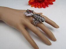 Women Ring Silver Metal Fish Elastic Pisces Horoscope Fashion Jewelry Bling Swim