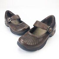 Dansko Mary Janes Brown Leather Nursing Clogs Shoes Women's EUR 38 US 7.5-8
