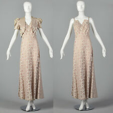S 1940s Blush Evening Gown Dramatic Bust Long Formal Dress Shell Brocade 40s VTG
