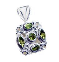 classy Peridot 925 Sterling Silver Green Pendant genuine Designer US gift