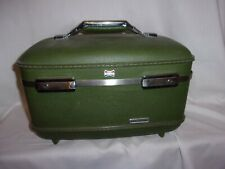 Vintage American Tourister Cosmetic Make Up Train Suitcase Hard Case Green