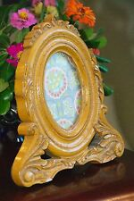"""PHOTO FRAME FAUX HAND CARVED """" WOOD """"  RESIN WOOD COMP YELLOW 9"""" H X 8.5""""  OVAL"""