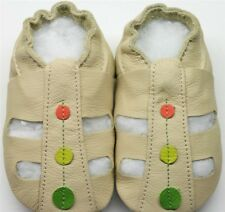 soft sole leather baby shoes sandals beige 0-6m US 2 slippers Minishoezoo