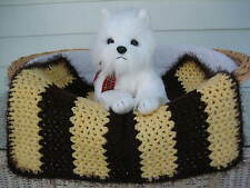 Fancy Dog Cat Bed Blanket Chocolate and Soft Yellow Stripe w Chocolate Faux Fur