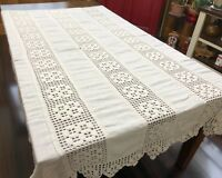 Antique White Linen & Crochet Lace Full / Double Coverlet or Bedspread (RF923)