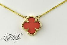 "Pink Coral Four Leaf Clover 14K Yellow Gold Necklace +16"" Chain"