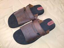ROCKPORT Mens Genuine Brown Leather Slide On Sandals, Sz. 9