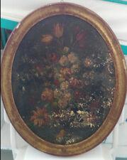 Dipinto ovale con fiori del '900