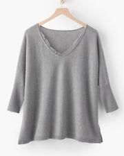 NEW Garnet Hill Cashmere Lace-Trimmed Sweater - XL