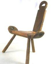 Antique Primitive Wood Milking Stool Birthing Chair Folk Art 3 Legged w/ Back