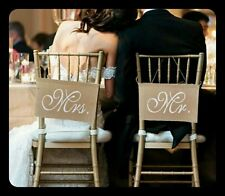 Wedding Married Hessian Chair Sash Mr Mrs BannerBurlap Vintage Rustic Decoration