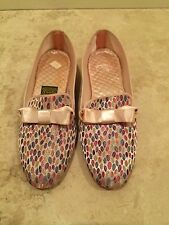 Vtg DANIEL GREEN Pink Blue Yellow Bow Soft Comfy House Slippers Sz 7AA NEW NICE!