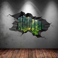 a todo color bosque árboles del Bosque Selva roto 3d Pegatina Pared Arte wsdfc47