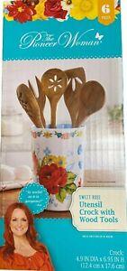 Pioneer Woman Sweet Rose 6-Piece Utensil Crock w/ 5 Wood Tools Brand New