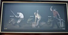 AUTO 250 UDA LEGENDS OF GOLF PALMER NICKLAUS WOODS FRAMED PHOTO