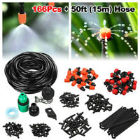 166x 15M/50FT DIY Drip Irrigation Kit System Hose Drippers Garden Plant Watering