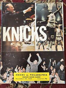 1968 New York Knicks vs Philadelphia 76ers Basketball Program